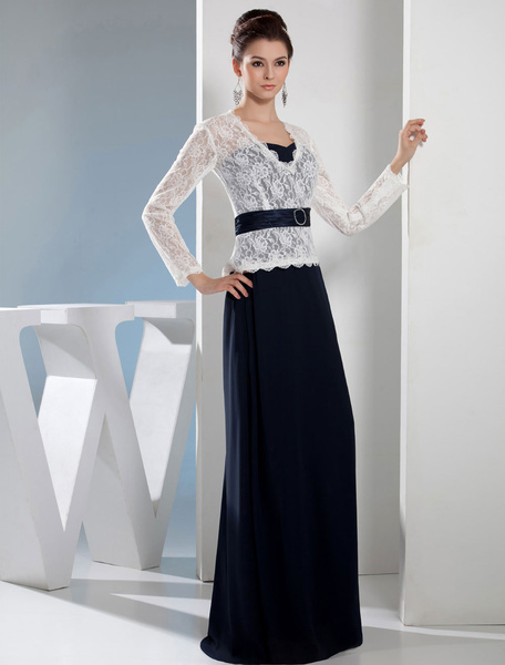 Long Sleeves Mother Of The Bride Dress Lace V-neck Satin Floor-Length A-line Tow-In-One Evening Dres фото