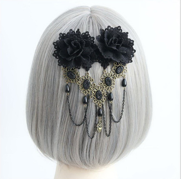 Gothic Lolita Headdress Black Flower Lolita Hairpin Decorated With Bead Chain фото
