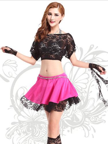 Black Dance Dress Women's Lace Crop Top Flat Shouders Contrast Color Belly Dance Costumes фото