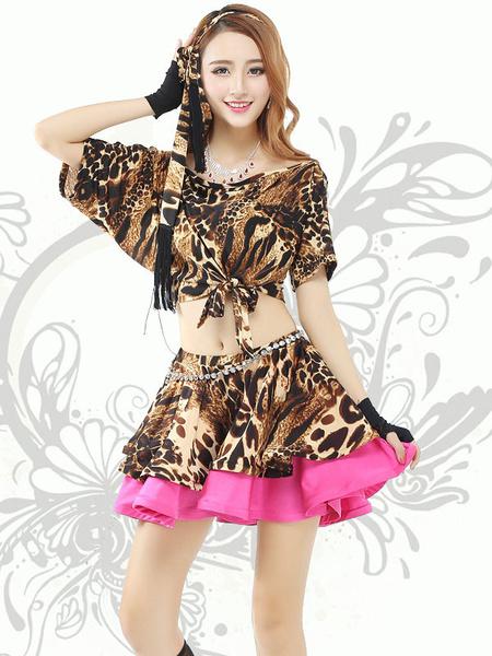 Ruffles Dance Dress Leopard Print Women's Short Sleeve Crop Top Off Shoulder Contrast Color Two Piec фото