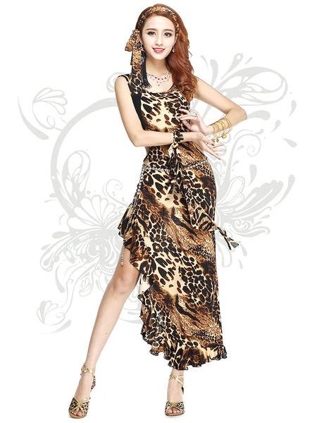 Bauchtanz Kostüme ärmelloses Damen Leopardenmuster Runde Hals Maxi Tanzkleid mit asymmetrischen Bode