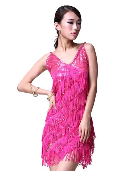 e9ce92e29b5e2 Sequin Dance Dress Backless Women's V Neck Strapless Tassel Mini Dance  Costume Dress