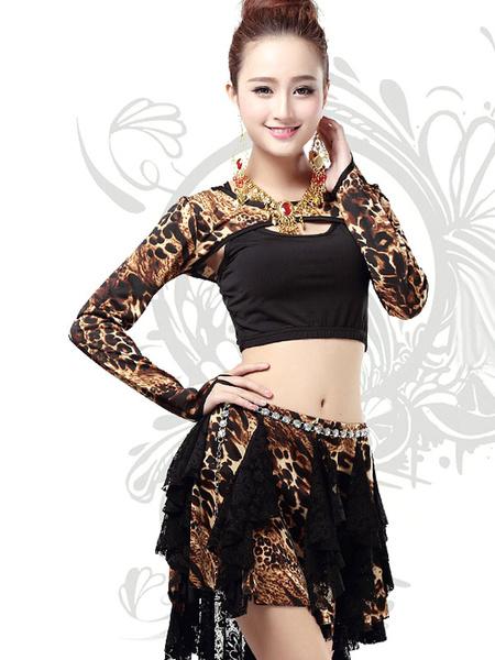 Costumi di Danza del ventre delle Donne Manica Lunga Crop Top Leopard Print Dance Dress Set Asimmetrica Con Bot