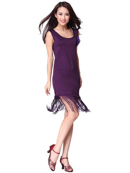 Quaste Tanz Kleid Damen ärmellose Split Bottom Rundhals ausgeschnitten Tanz Kostüm Kleid mit Corsage