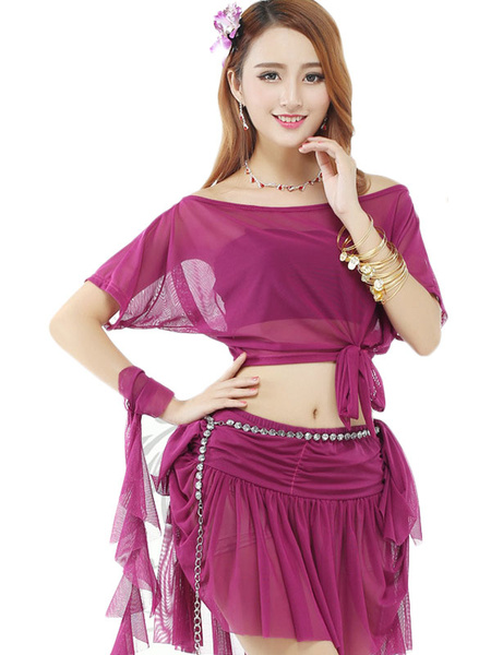 Ruffles Dance Dress Women's Short Sleeve Chiffon Illusion Off Shoulder Two Pieces Belly Dance Costum фото