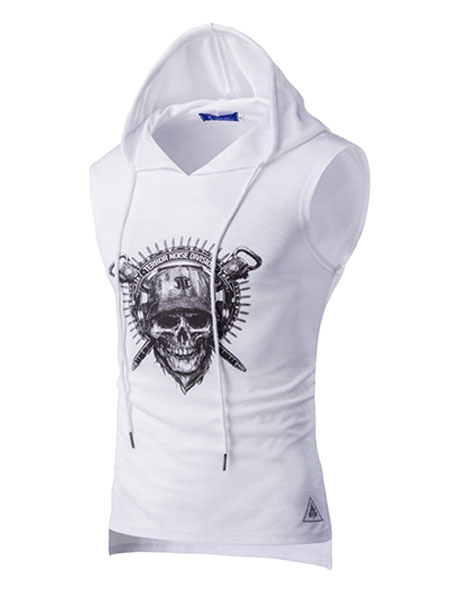 White Sleeveless Hoodie T Shirt Hooded Tank With Skull Print For Men фото