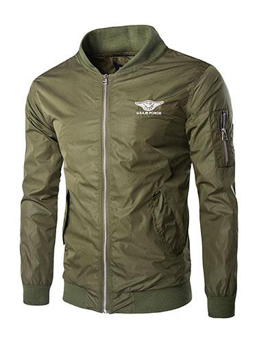 Men's Bomber Jacket In Black/Green Cool Outwear Jacket фото