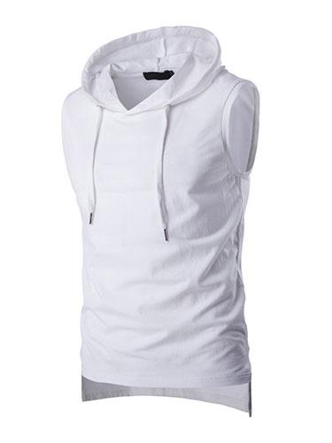 С Капюшоном Майка Без Рукавов Толстовка Мужская Рубашка В Черный/Белый/Серый