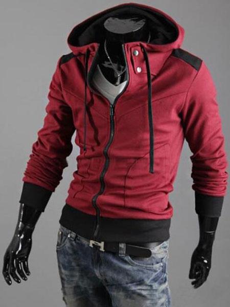 Image of Men Hooded Jacket Metallic Button Zipper Hoodie Long Sleeve Jersey Jacket