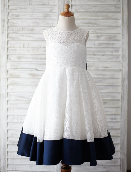 Lace Flower Girl Dress Ribbon Bow Back Knee-Length A-Line Toddler's Pageant Dress V-Back Dinner Dres, Ivory