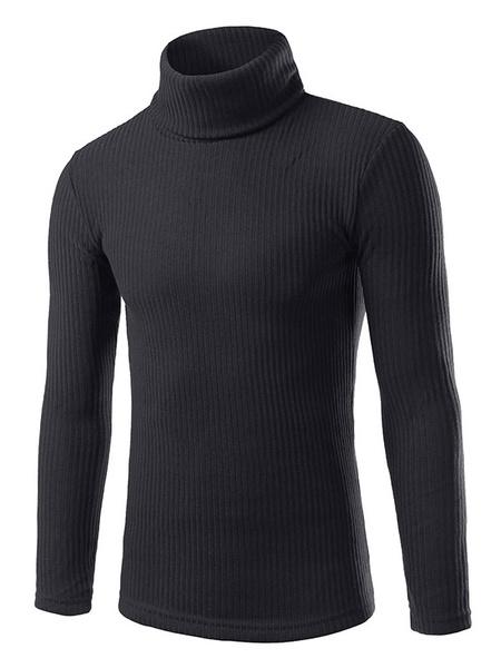 Мужские рулон шеи свитер пуловер Slim-подходят свитер в серый/бордовый/черный/белый