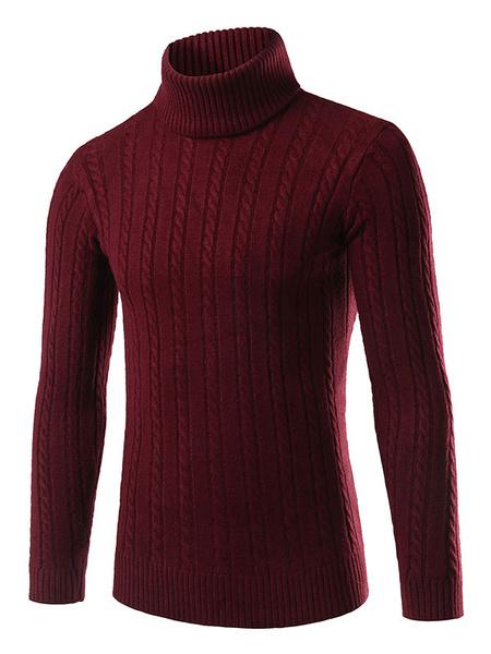 Milanoo / Stehkragen Pullover Herren rot/weiß/grau/schwarz schlank Strickwaren