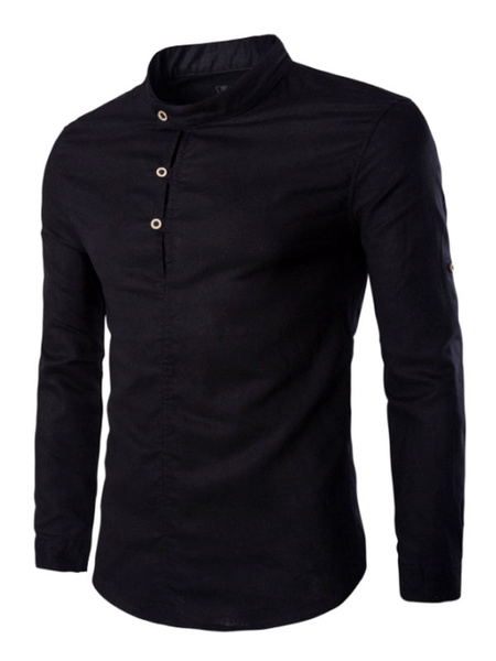Men's Long Sleeves Shirt Pullover In Navy/Green/Black фото