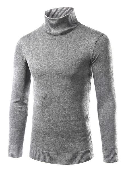 Мужской пуловер свитер водолазка основной свитер в серый/бордовый/черный приталенный Fit