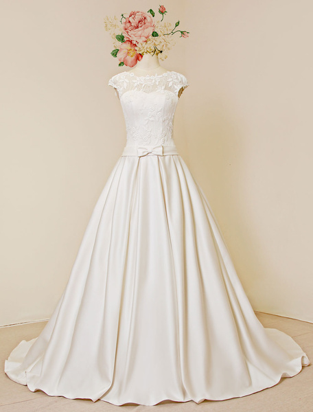 Lace Wedding Dress Luxury Open Back Cap Sleeves Chapel Train A-Line Bridal Gown With Detachable Flow фото