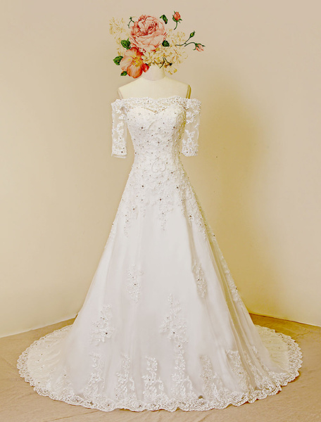 Off-the-shoulder Wedding Dress Lace Half Sleeves Sweetheart Chapel Train Tulle Beading Bridal Gown фото