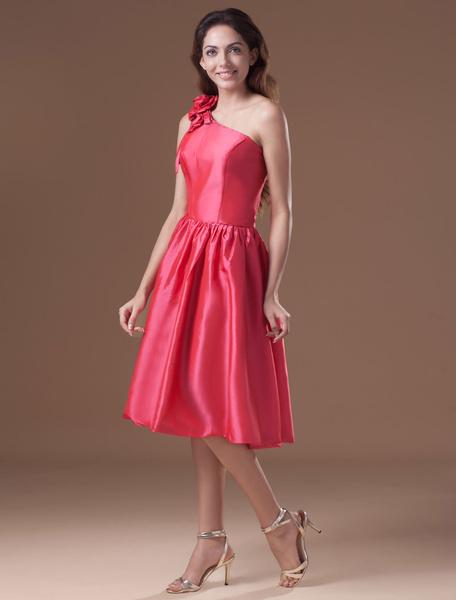 Short Bridesmaid Dress One-shouder Flower Taffeta Knee-Length A-Line Short Prom Dress