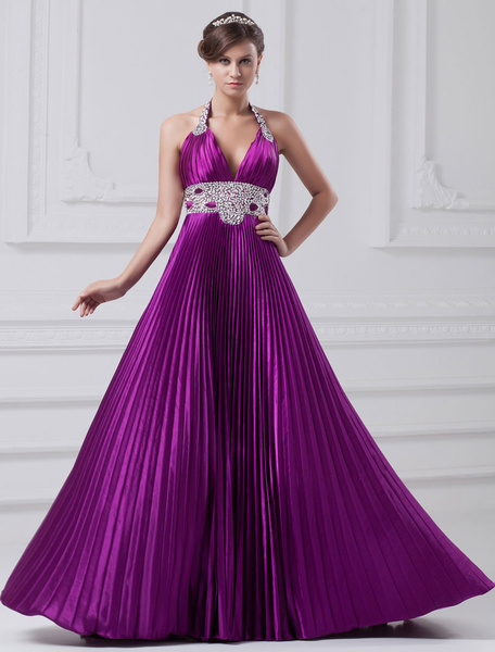 Backless Evening Dress Halter Silk Feeling Beading Pleated Court Train Maxi Prom Dress