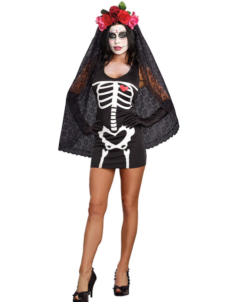 Day Of The Dead Costume Halloween Corpse Bride Skeleton Print Costumes Adult Costume