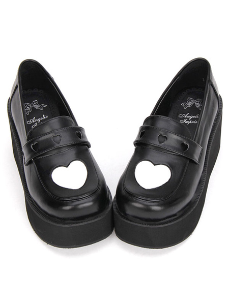 Gothic Lolita Shoes White Heart High Platform Heels Lolita Loafer Shoes фото