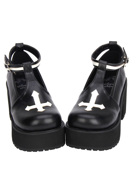 Gothic Lolita Shoes Cross Platform Pumps Ankle Strap Gothic Lolita Shoes With Chunky Heel Pumps