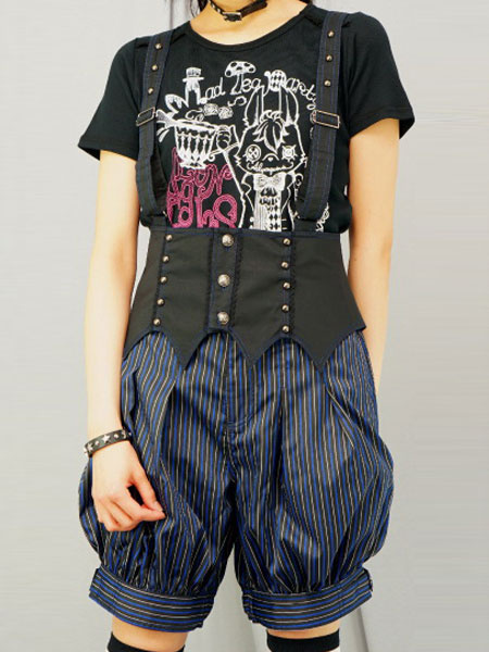 Gothic Lolita Pants Stripe Punk High Waist Lolita Oji Suspender Pants Lace Up Ouji Shorts фото