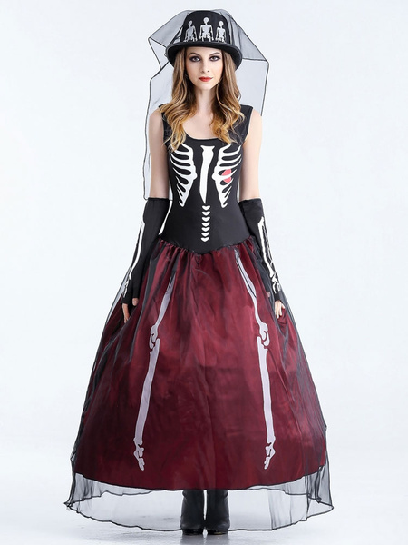 Day Of The Dead Costume Halloween Costume Corpse Bride Women's Black Long Dress With Glove & Hat
