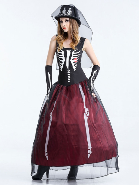 Dead Bride Halloween Costume.Day Of The Dead Costume Halloween Costume Corpse Bride Women S Black Long Dress With Glove Hat