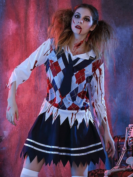 Day Of The Dead Costume Halloween Costume School Girl Women's Outfit With Tie
