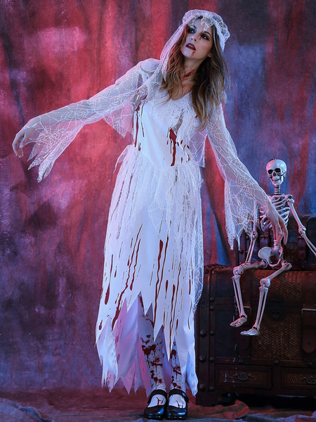 Day Of The Dead Costume Halloween Costume Corpse Bride Women's White Dress With Heagear