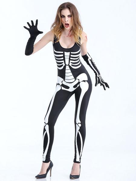 Day Of The Dead Costume Ladies Sleeveless Skeleton Jumpsuit Women's Holloween Costume