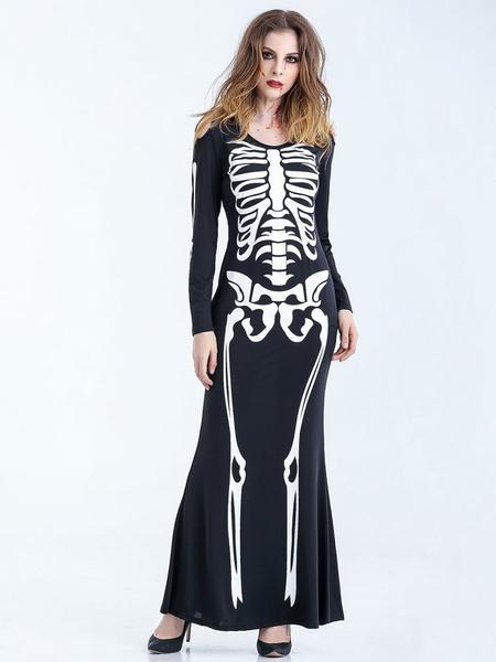 Day Of The Dead Costume Adult Bone Appetit Skeleton Black Long Dress Costume