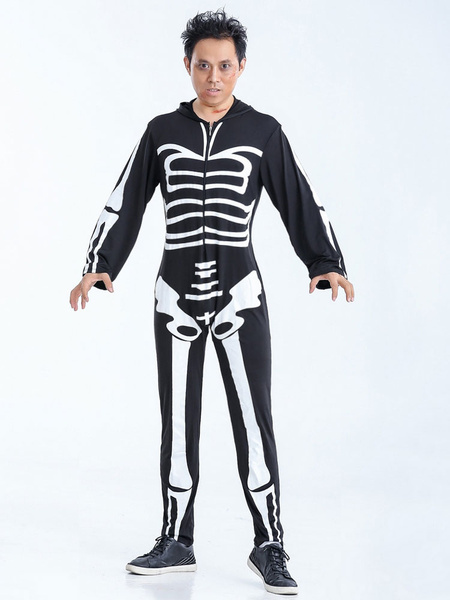 Day Of The Dead Costume Black And White Skeleton Adult Men's Costume