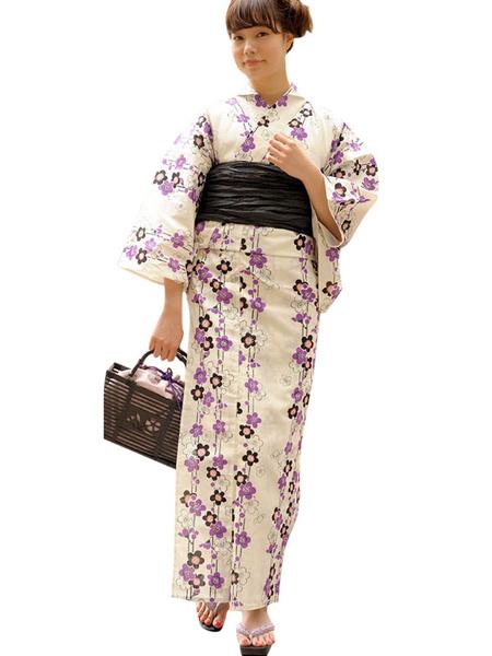 Sexy Kimono Costume Halloween With White Floral Print Cotton For Women фото