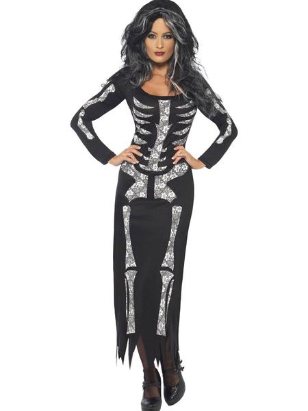 Day Of The Dead Costume Holloween Skeleton Tube Dress Costume For Women