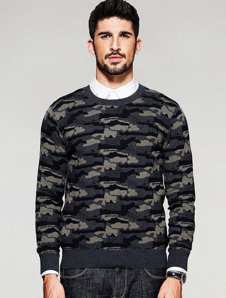 Men's Pullover Sweater Hunter Green Long Sleeve Camouflage Knitwear фото