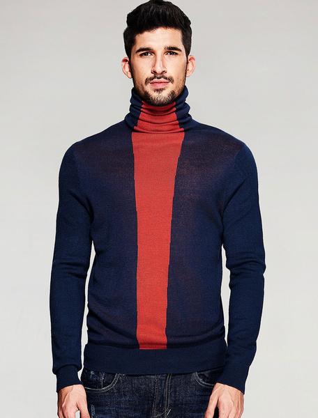 Мужской свитер водолазка с длинным рукавом цвет блока пуловер свитер