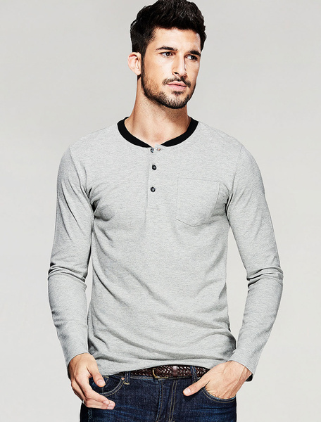 Men's Gray T-shirt Cotton Long Sleeve Button Top фото