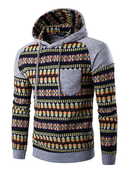 Men's Cotton Hoodie Printed Color Block Pocket Hooded Sweatshirt фото