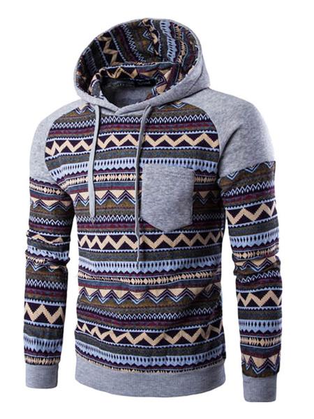 Men's Fleece Hoodie Tribal Print Color Block Hooded Sweatshirt For Men