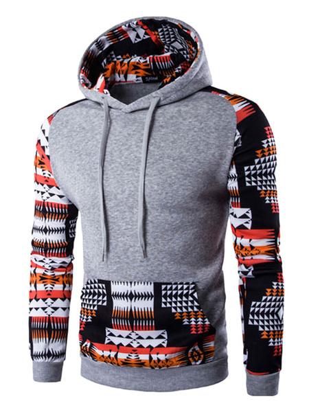 Мужской пуловер с капюшоном племенной отпечатано с длинным рукавом хлопок балахон с карманом