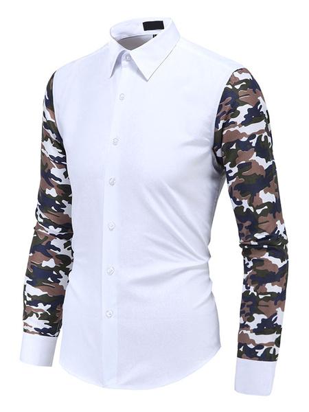 Men's White Shirt Camouflage Long Sleeve Turndown Collar Casual Shirt фото