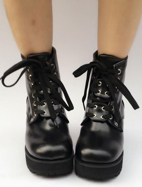 Black Lolita Boots Platform Chunky Heel Round Toe Lace Up Lolita Short Boots фото