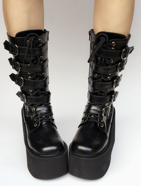 Lolita Platform Boots Black Wedge Buckle Lace Up Round Toe Lolita Short Boots фото