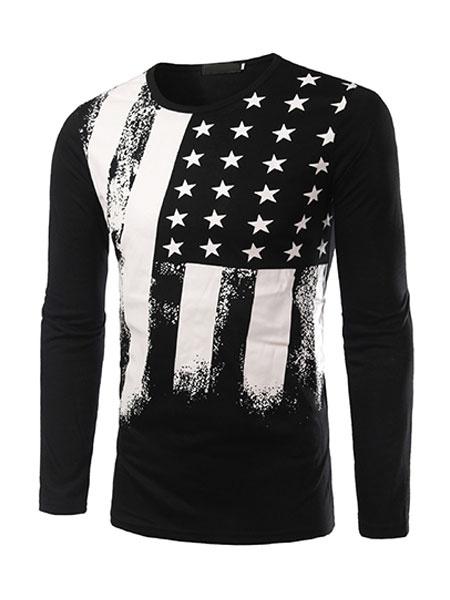 Man's T Shirt Long Sleeve Flag Print Crewneck Black Cotton T Shirt фото