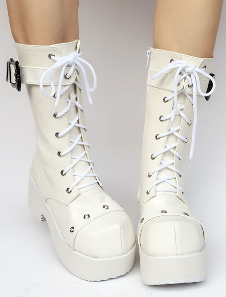 White Lolita Boots Platform Chunky Heel Lace Up Buckle Round Toe Zipper Lolita Short Boots With Grom фото