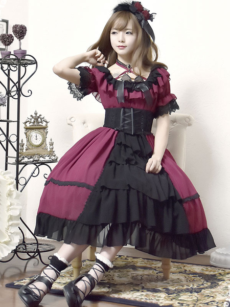 Lolita Wedding Dress OP One Piece Colorful Fairytale Lace Bow Ruffled Cross Front Lolita Dress
