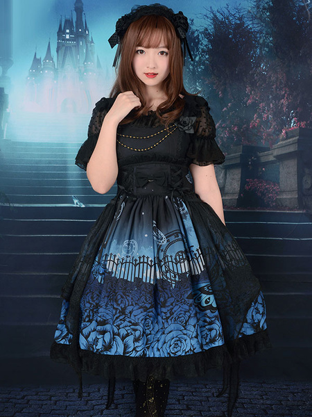 Gothic Lolita Dress JSK Butterfly In The Cemeteries Printed Chiffon Lace Up Ruffle Lolita Jumper Ski фото