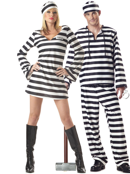 Prisoner Couple Halloween Costumes Striped Halloween Costumes For Adults Milanoo
