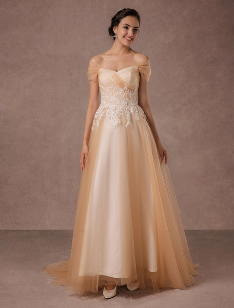 Off Shoulder Wedding Dress Champagne Tulle Bridal Gown Beaded Lace With Train Milanoo фото